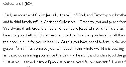 Colossians MSS